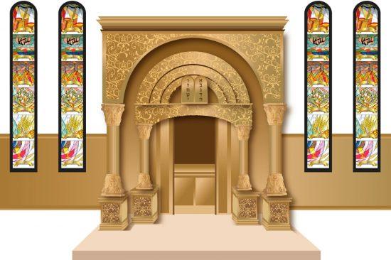 הדמיה 2 לבית כנסת בחיפה בביצוע   הוד והדר - ארונות קודש וריהוט לבתי כנסת